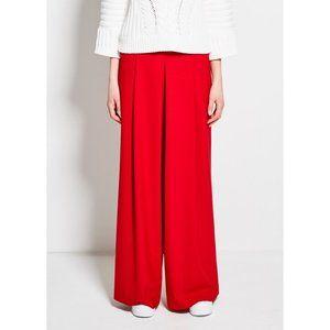 Pink Tartan High Rise Pleated Wide Leg Pants - Red